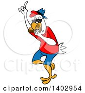 Cartoon Clipart Of A Chicken Wearing Casual Clothes And Playing A Harmonica Royalty Free Vector Illustration