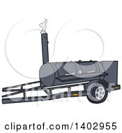 Cartoon Clipart Of A Bbq Cooker On A Trailer Royalty Free Vector Illustration