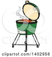 Cartoon Clipart Of A Big Green Egg Bbq Cooker With Ribs On The Grill Royalty Free Vector Illustration