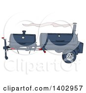 Cartoon Clipart Of A Lang Bbq Cooker On A Trailer Royalty Free Vector Illustration