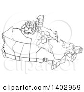 Black And White Canadian Map