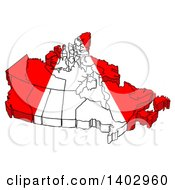 Cartoon Clipart Of A Red And White Canadian Map Royalty Free Vector Illustration
