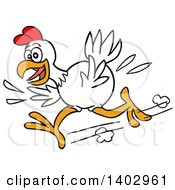Cartoon Clipart Of A White Chicken Running To The Left Royalty Free Vector Illustration