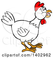 Cartoon Clipart Of A White Chicken Facing Right Royalty Free Vector Illustration