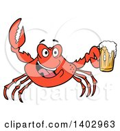 Cartoon Clipart Of A Red Crab Cheering And Holding A Beer Mug Royalty Free Vector Illustration by LaffToon