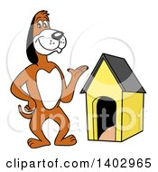 Cartoon Clipart Of A Presenting Beagle Dog Standing By A House Royalty Free Vector Illustration
