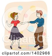 Clipart Of A Sketched Retro Couple Dancing Royalty Free Vector Illustration by BNP Design Studio