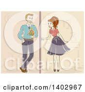 Clipart Of A Sketched Retro Woman Meeting For A Date Royalty Free Vector Illustration by BNP Design Studio