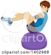 Clipart Of A Young White Man Balancing On An Exercise Ball Royalty Free Vector Illustration