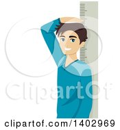 Clipart Of A Teenage Boy Measuring His Height Royalty Free Vector Illustration