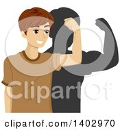 Clipart Of A Teenage Guy Flexing His Bicep Muscle And Seeing His Shadow Much Stronger Than He Really Is Royalty Free Vector Illustration
