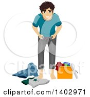 Clipart Of A Teenage Guy Growing Out Of His Clothes Royalty Free Vector Illustration