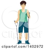 Clipart Of A Teenage Guy Working Out With Resistance Bands Royalty Free Vector Illustration