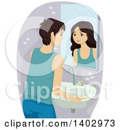 Clipart Of A Caucasian Teenage Guy Going Through An Identity Crisis Seeing Himself As A Female In A Mirror Royalty Free Vector Illustration