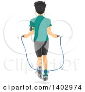 Clipart Of A Rear View Of A Teen Guy Using A Jump Rope Royalty Free Vector Illustration