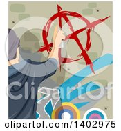 Clipart Of A Teenage Guy Painting An Anarchy Symbol On A Wall Royalty Free Vector Illustration
