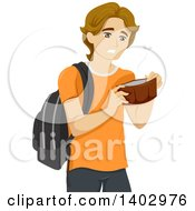 Clipart Of A Broke White Teen Guy Opening An Empty Wallet Royalty Free Vector Illustration
