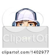 Clipart Of A Teen Guy Wearing Headphones And Looking Over A Laptop Royalty Free Vector Illustration