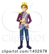 Clipart Of A Teenage Guy In A Prince Costume For A Play Royalty Free Vector Illustration