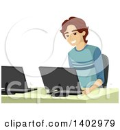 Clipart Of A Happy Caucasian Teen Boy In A Computer Lab Royalty Free Vector Illustration
