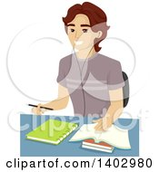 Clipart Of A Happy Teen Guy Studying Royalty Free Vector Illustration