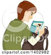 Clipart Of A Caucasian Teen Guy Looking At An Adult Magazine Royalty Free Vector Illustration