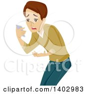 Clipart Of A Caucasian Teen Guy Reading A Disappointing Text Message Royalty Free Vector Illustration