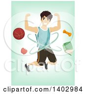 Clipart Of A Sporty Teenage Guy With Equipment Over Green Royalty Free Vector Illustration by BNP Design Studio