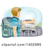 Clipart Of A Caucasian Teen Guy Hitchhiking Royalty Free Vector Illustration