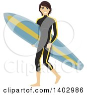 Clipart Of A Caucasian Teen Guy Surfer In A Wet Suit Carring A Board Royalty Free Vector Illustration