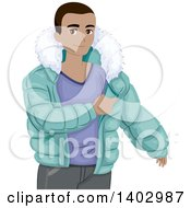 Clipart Of A Black Teen Guy Putting On A Winter Coat Royalty Free Vector Illustration