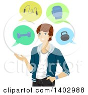 Clipart Of A White Teen Guy Presenting Workout Options Royalty Free Vector Illustration