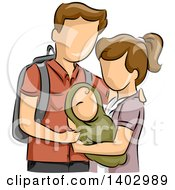 Clipart Of A Sketched White Teen Couple Holding Their Baby Royalty Free Vector Illustration