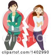 Clipart Of A Teen Couple Breaking Up Over A Heart Royalty Free Vector Illustration