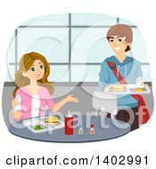 Clipart Of A Teenage Couple Talking In A Cafeteria Royalty Free Vector Illustration