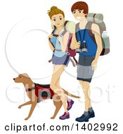 Caucasian Teen Couple Hiking With A Dog