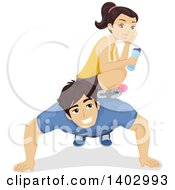 Clipart Of A Teen Girl Sitting On Her Boyfriends Back As He Does Push Ups Royalty Free Vector Illustration by BNP Design Studio