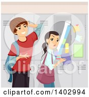 Clipart Of A Teen Guy Asking A Girl Out At Her Locker Royalty Free Vector Illustration by BNP Design Studio