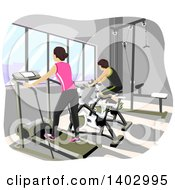 Clipart Of A Teen Couple Working Out In A Gym Royalty Free Vector Illustration