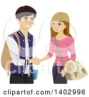 Clipart Of A Teen Girl And Boy Shaking Hands Royalty Free Vector Illustration by BNP Design Studio