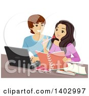 Clipart Of A Teen Couple Studying With A Laptop Royalty Free Vector Illustration