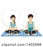 Clipart Of A Relaxed Couple Doing Yoga Royalty Free Vector Illustration