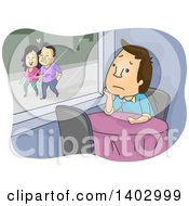 Clipart Of A Cartoon Lonely Brunette White Man Sitting At A Table In A Restaurant Watching A Couple Walk Outside Royalty Free Vector Illustration by BNP Design Studio
