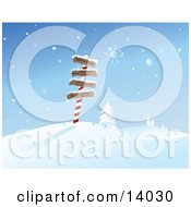 Snowflakes Falling Over Directional Signs To The North Pole New York Paris And London On A Post In The North Pole