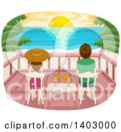 Clipart Of A Rear View Of A Couple Sitting On Chairs On A Deck And Watching A Sunset Over A Tropical Beach Royalty Free Vector Illustration by BNP Design Studio