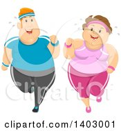 Cartoon Happy Overweight Caucasian Couple Jogging And Working Out Together