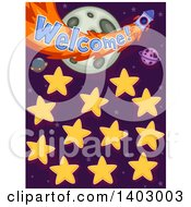 Clipart Of A Name Board With Planets Stars And Welcome Text Royalty Free Vector Illustration