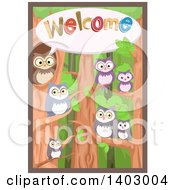 Clipart Of A Family Of Owls Saying Welcome Royalty Free Vector Illustration