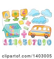 Poster, Art Print Of School Bus Clouds Alphabet Letters And Numbers