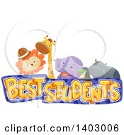 Clipart Of A Best Students Design With A Lion Giraffe Elephant Toucan And Hippo Royalty Free Vector Illustration by BNP Design Studio